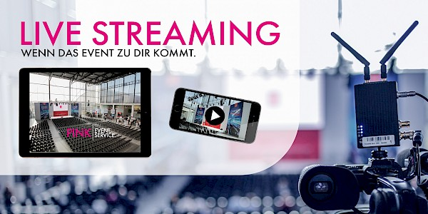 Veranstaltungstechnik und Eventdienstleistungen PINK Event Service mit Videotechnik, Medientechnik und Live-Streaming-Lösungen in Karlsruhe