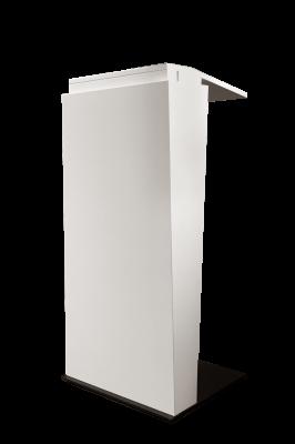 Mieten: schickes Rednerpult in weiß, elektrisch höhenverstellbar, mit und ohne Branding