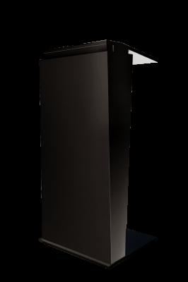 Mieten: schickes Rednerpult in schwarz, elektrisch höhenverstellbar, mit und ohne Branding