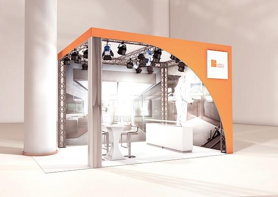 Vorher - Messebau Visualiserung für Messestand Achema 2018 in der Messe Frankfurt