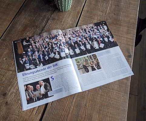 Magazin der IHK Karlsruhe berichtet über Ehrungsabende - Eventkonzept 20er Jahre Event von Eventagentur PINK Event Service aus Frankfurt und Karlsruhe