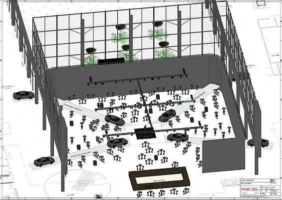 Eventplanung mit 3D Ansicht für Eventkonzept in der Messe Karlsruhe für Veranstaltungstechnik und Mobiliar von PINK Event Service