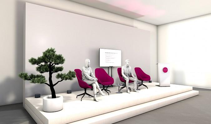 Talkrunde von Pink Event Service für virtuelle Messe und Kongress