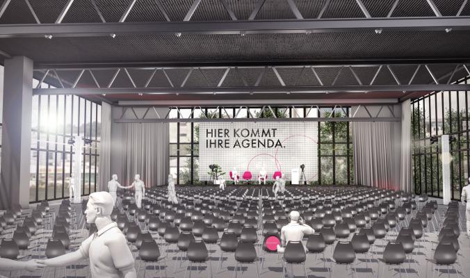 Forum-Saal von Pink Event Service für virtuelle Messe und Kongress